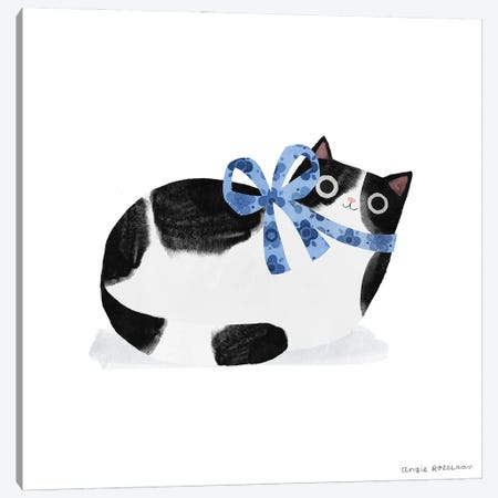 Tuxedo Cat With Blue Ribbon Canvas Print #ARZ30} by Angie Rozelaar Canvas Artwork