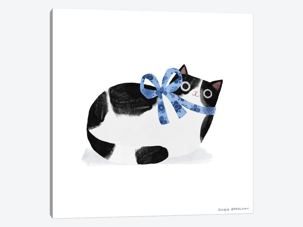 Tuxedo Cat With Blue Ribbon by Angie Rozelaar 1-piece Canvas Artwork
