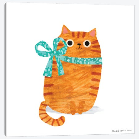 Ginger Cat With Ribbon Canvas Print #ARZ32} by Angie Rozelaar Canvas Artwork