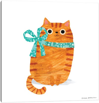 Ginger Cat With Ribbon Canvas Art Print