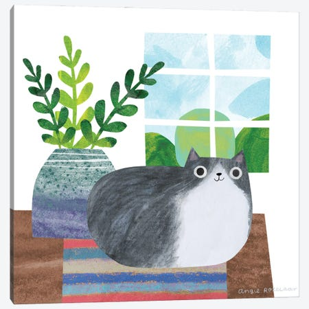 Cat And Plant III Canvas Print #ARZ33} by Angie Rozelaar Canvas Wall Art