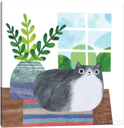 Cat And Plant III Canvas Art Print