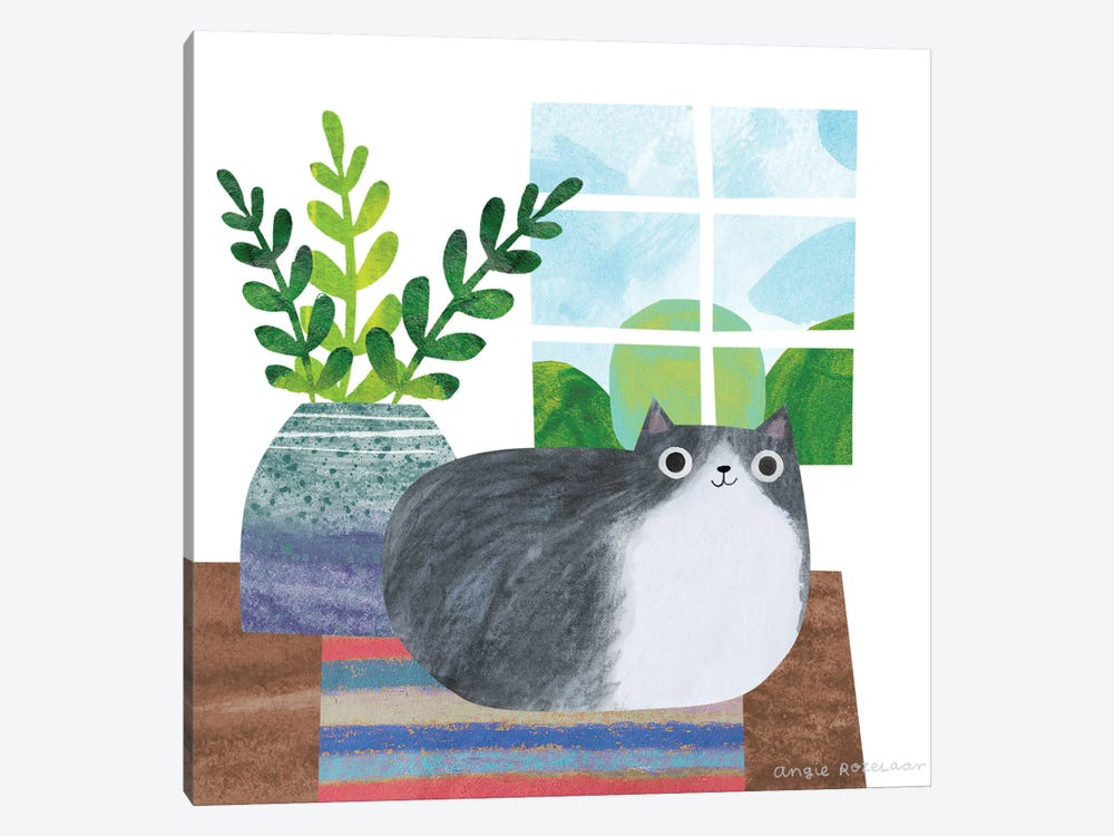 Cat And Plant III by Angie Rozelaar 1-piece Canvas Art Print