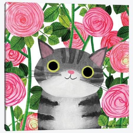 Rosy Cat Canvas Print #ARZ34} by Angie Rozelaar Art Print