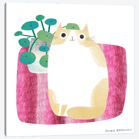 Cat And Plant I Canvas Print #ARZ38} by Angie Rozelaar Canvas Art
