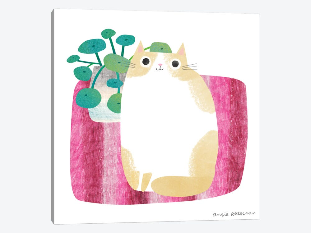 Cat And Plant I by Angie Rozelaar 1-piece Canvas Art