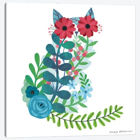 Floral Cat I Canvas Print #ARZ41} by Angie Rozelaar Canvas Print