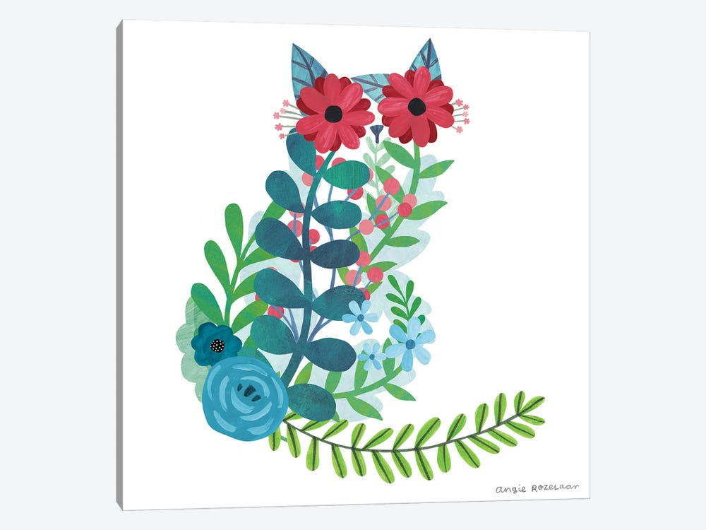 Floral Cat I by Angie Rozelaar 1-piece Canvas Artwork