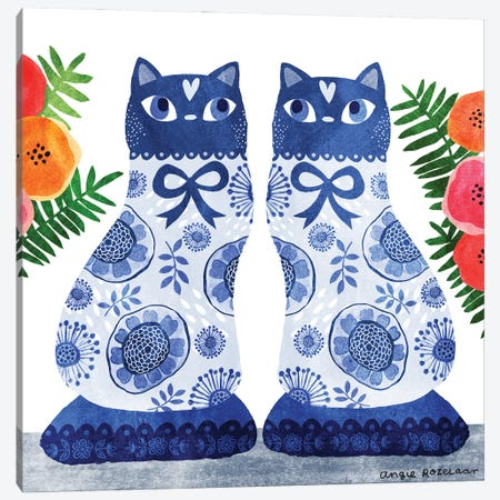 China Cats I Canvas Print #ARZ43} by Angie Rozelaar Canvas Art Print