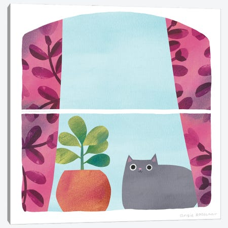 Window Seat With Grey Cat Canvas Print #ARZ45} by Angie Rozelaar Canvas Artwork