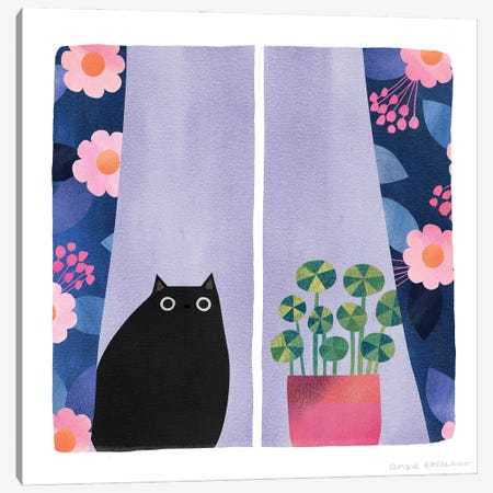 Window Seat With Black Cat Canvas Print #ARZ47} by Angie Rozelaar Canvas Art