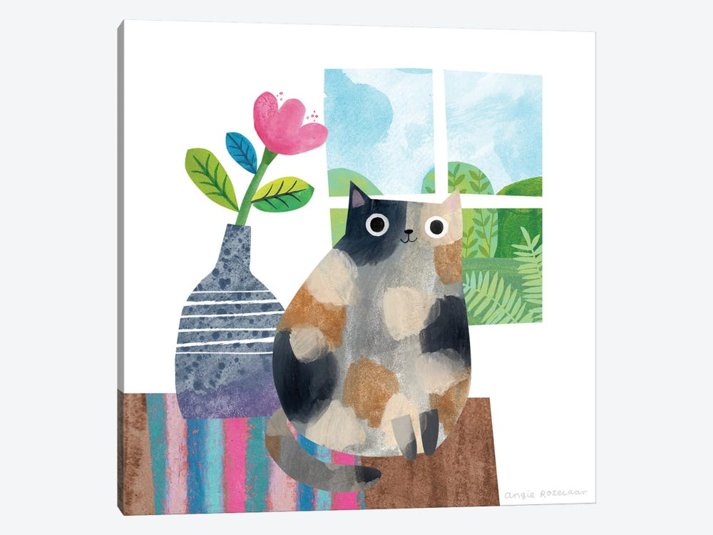 Calico And Vase by Angie Rozelaar 1-piece Canvas Print