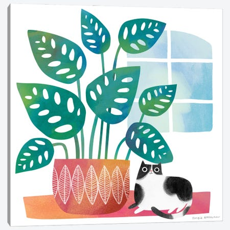 Cat And Big Houseplant Canvas Print #ARZ52} by Angie Rozelaar Canvas Art
