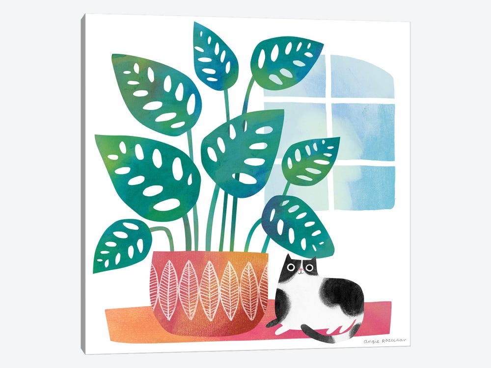 Cat And Big Houseplant by Angie Rozelaar 1-piece Canvas Art