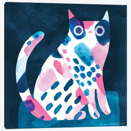 Cat In Pink And Blue Canvas Print #ARZ53} by Angie Rozelaar Canvas Art