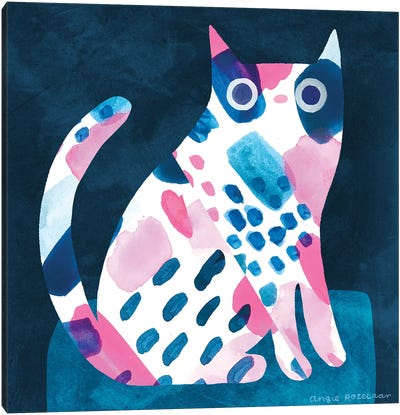 Cat In Pink And Blue Canvas Art Print