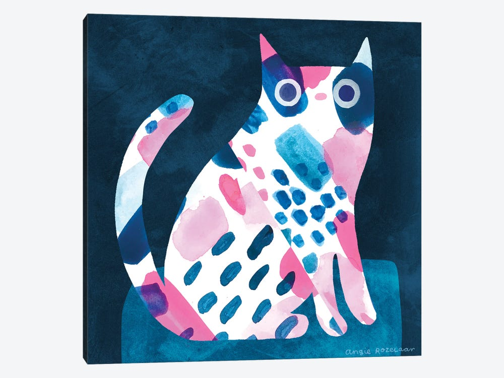 Cat In Pink And Blue by Angie Rozelaar 1-piece Canvas Print