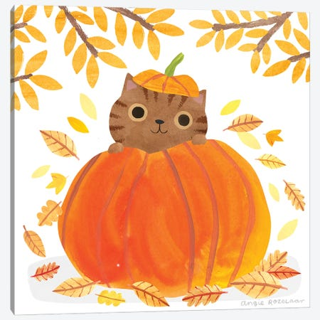 Pumpkin Cat Canvas Print #ARZ60} by Angie Rozelaar Art Print