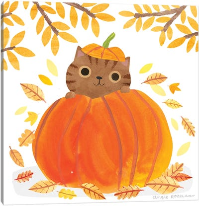 Pumpkin Cat Canvas Art Print