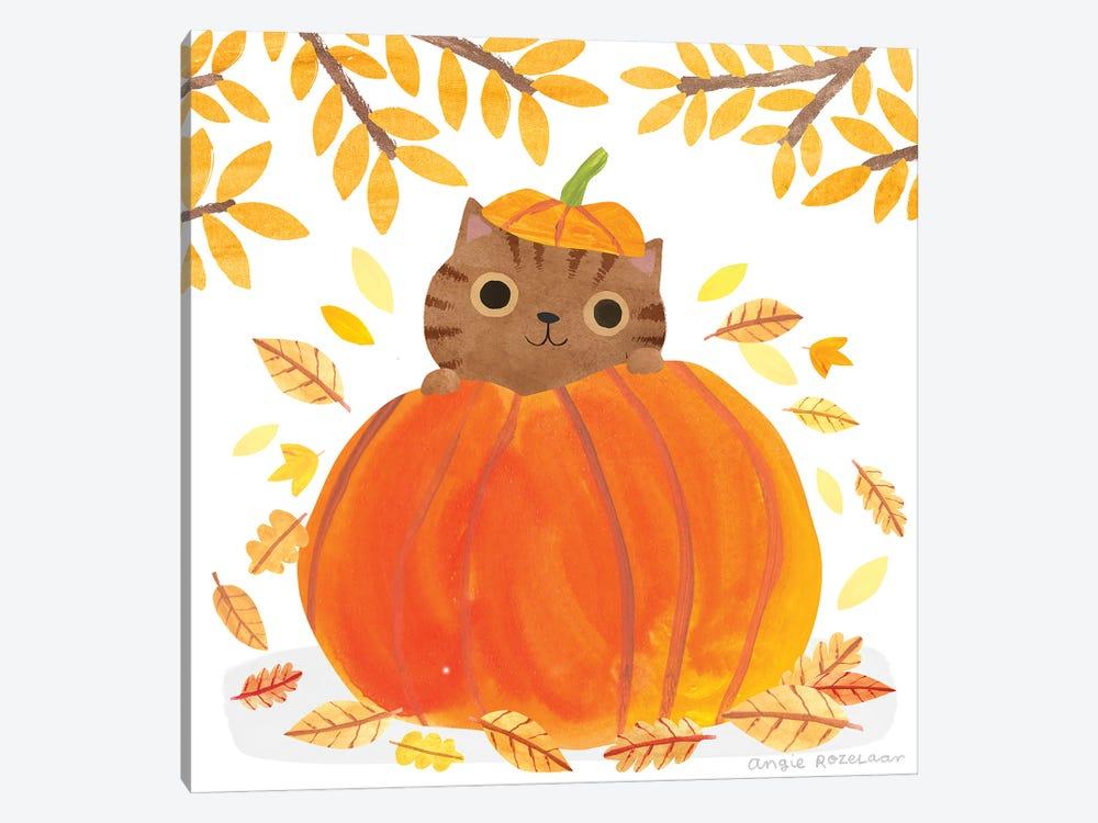 Pumpkin Cat by Angie Rozelaar 1-piece Canvas Art Print