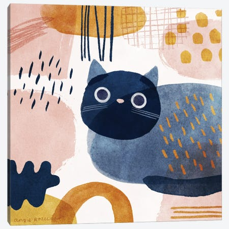 Cat In Blue, Pink And Gold Canvas Print #ARZ67} by Angie Rozelaar Canvas Artwork