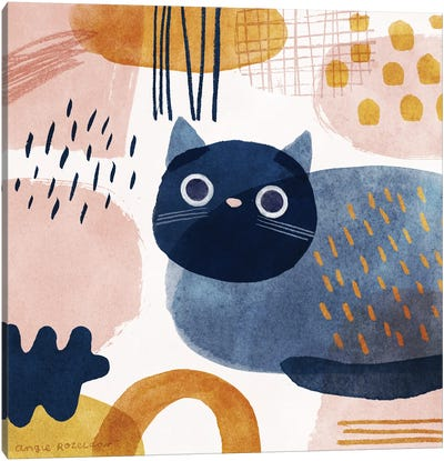 Cat In Blue, Pink And Gold Canvas Art Print
