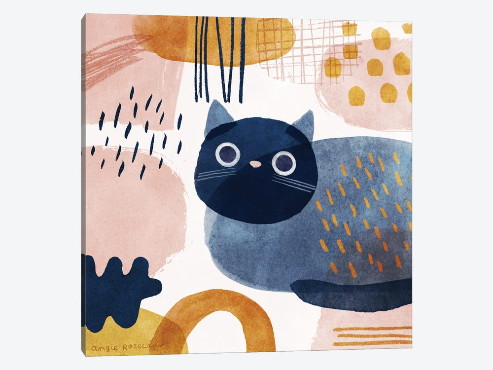 Cat In Blue, Pink And Gold by Angie Rozelaar 1-piece Canvas Artwork
