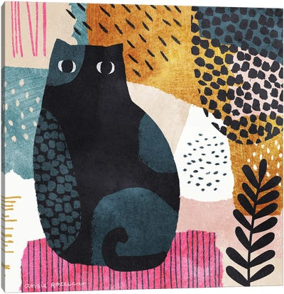 Cat In Blue, Pink And Gold II Canvas Art Print