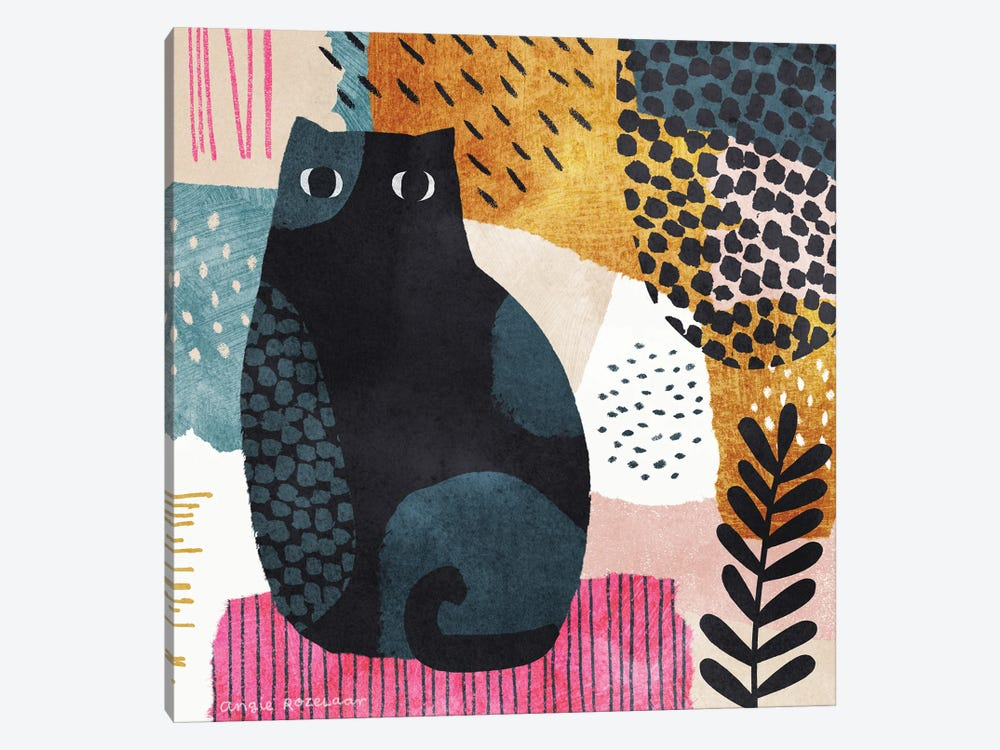 Cat In Blue, Pink And Gold II by Angie Rozelaar 1-piece Canvas Art Print