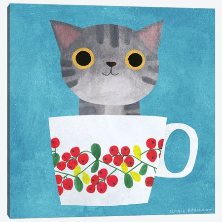 Teacup Tabby Kitten Canvas Print #ARZ69} by Angie Rozelaar Art Print