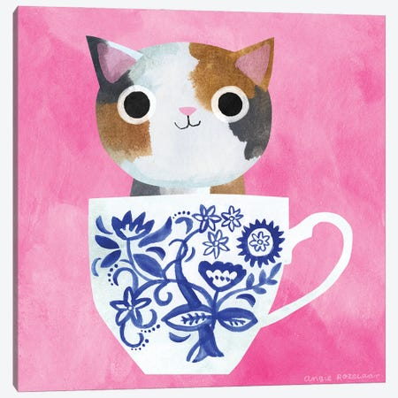 Teacup Calico Kitten Canvas Print #ARZ71} by Angie Rozelaar Canvas Wall Art