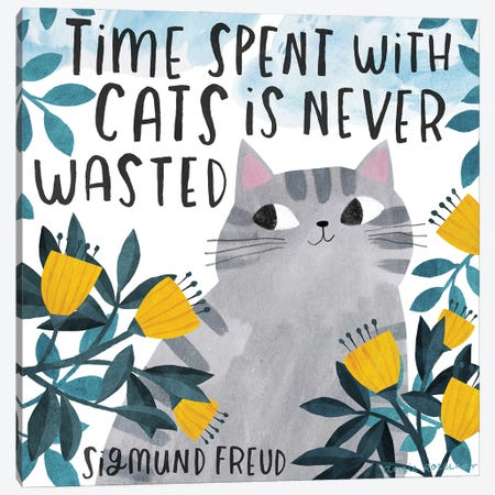 Time Spent With Cats Canvas Print #ARZ73} by Angie Rozelaar Canvas Wall Art
