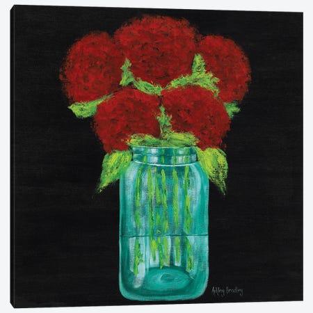 Red Hydrangeas In Mason Jar Canvas Print #ASB103} by Ashley Bradley Canvas Art