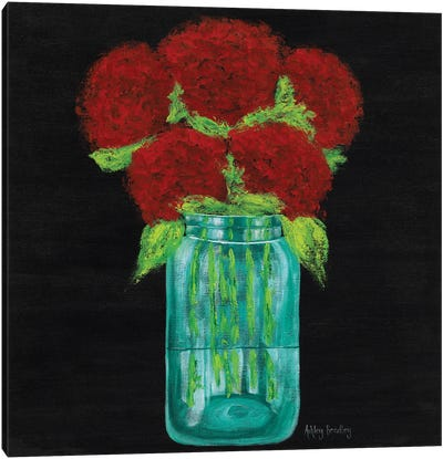 Red Hydrangeas In Mason Jar Canvas Art Print