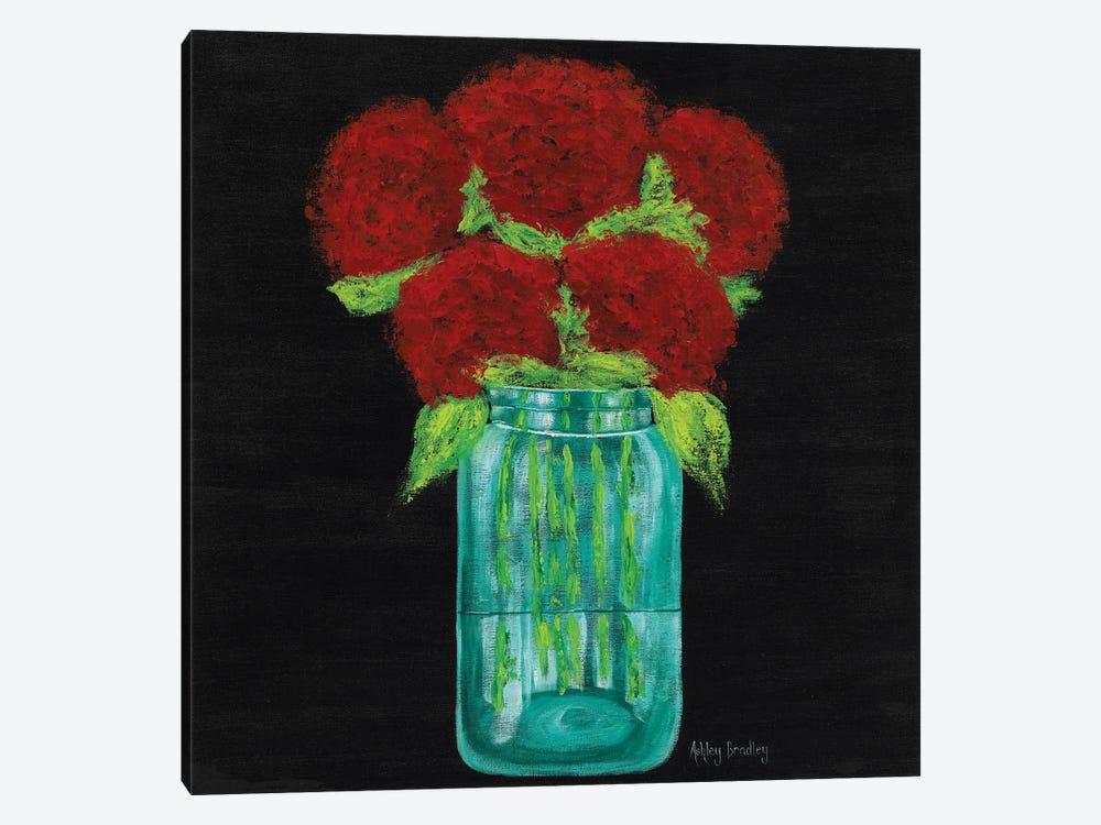 Red Hydrangeas In Mason Jar by Ashley Bradley 1-piece Canvas Art