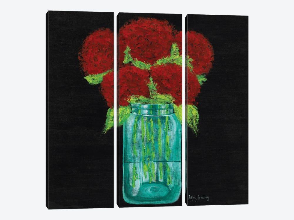 Red Hydrangeas In Mason Jar by Ashley Bradley 3-piece Canvas Wall Art