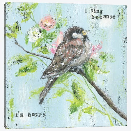Sing Because I'm Happy Canvas Print #ASB107} by Ashley Bradley Art Print