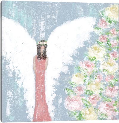 Spring Floral Angel Canvas Art Print