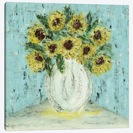 Vase Of Sunflowers Canvas Print #ASB114} by Ashley Bradley Canvas Art