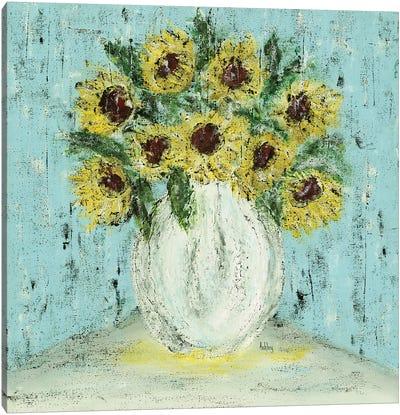 Vase Of Sunflowers Canvas Art Print