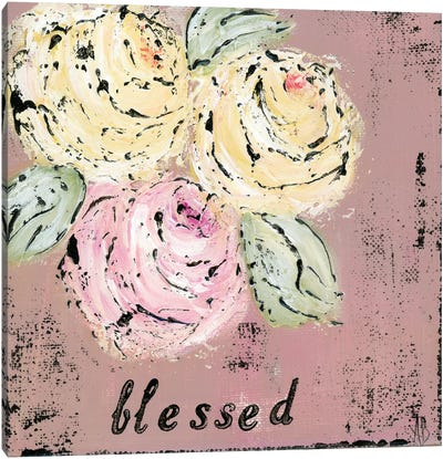 Blessed Floral Canvas Art Print