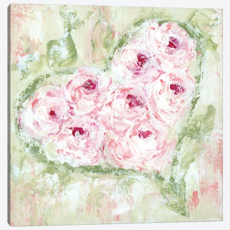 Pink Floral Heart Canvas Print #ASB120} by Ashley Bradley Canvas Artwork