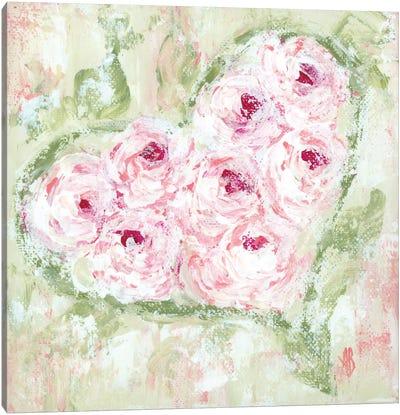 Pink Floral Heart Canvas Art Print