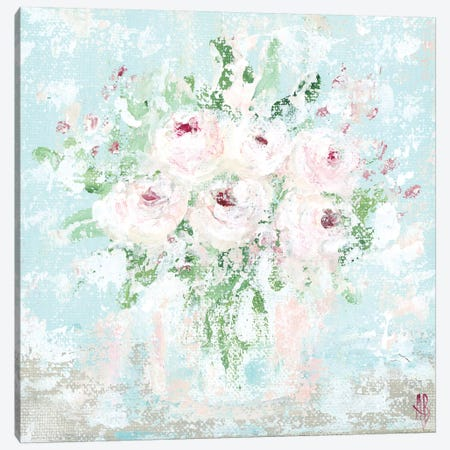 Pink Floral Canvas Print #ASB32} by Ashley Bradley Art Print