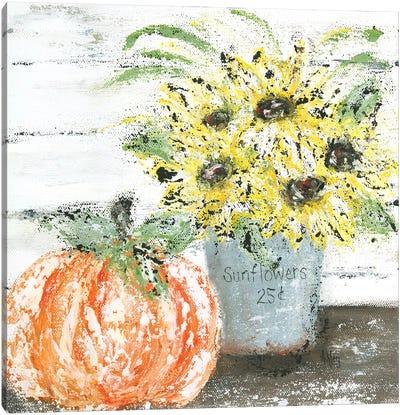Sunflowers Pumpkin Canvas Art Print