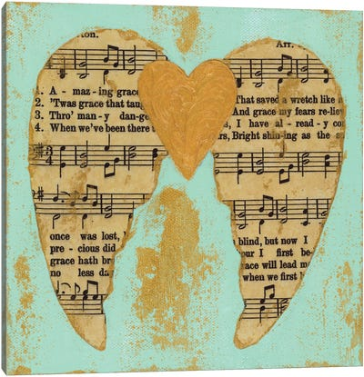 Amazing Grace Blue Gold Canvas Art Print