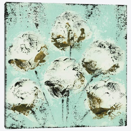 Blue Cotton Stems Canvas Print #ASB59} by Ashley Bradley Canvas Print
