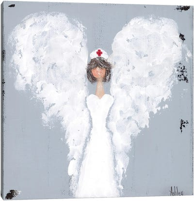 Brunette Nurse Canvas Art Print