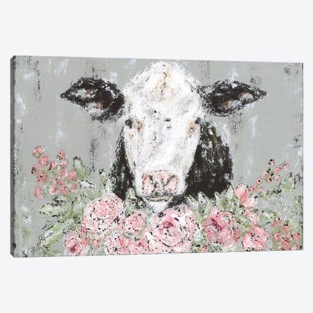 Floral Cow Canvas Print #ASB74} by Ashley Bradley Canvas Artwork