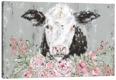 Floral Cow Canvas Art Print